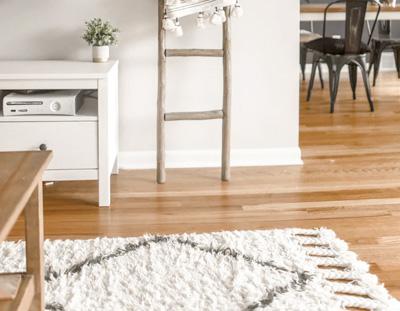 Hardwood floor with carpet